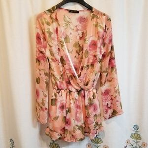 Rose garden long sleeve romper
